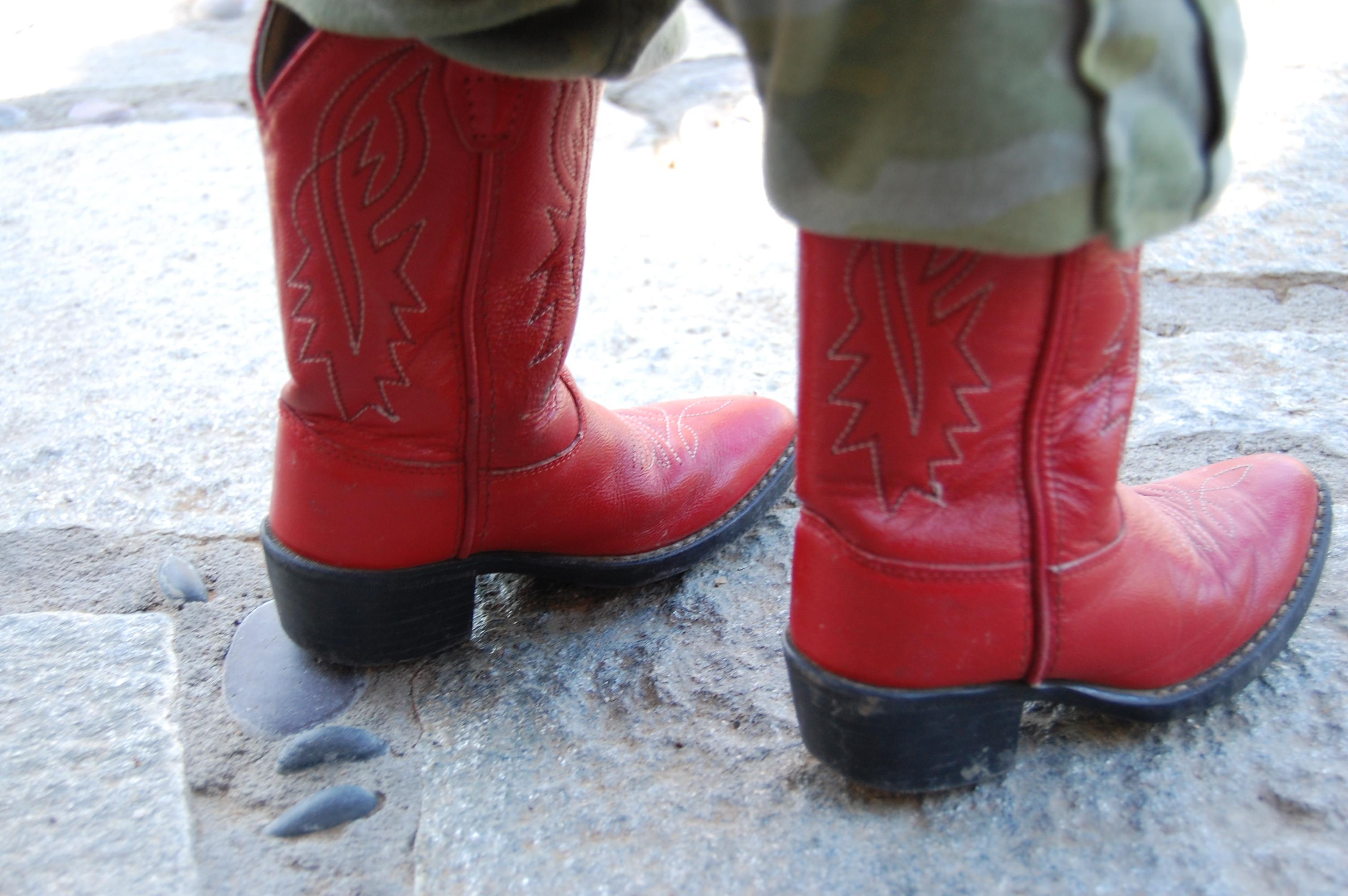 Urban Organica: red cowboy boots